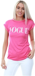 Parisian Pink Vogue Print Roll Up Sleeve T-Shirt