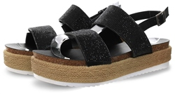 Krush Black Panel Platform Sandal