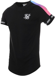 Siksilk Black Raglan Panel Fade Tech Tee