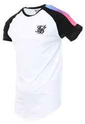Siksilk White Raglan Panel Fade Tech Tee