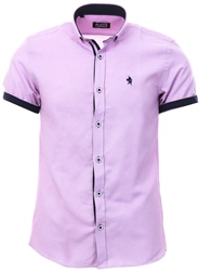 Alex & Turner Lilac Short Sleeve Button Shirt