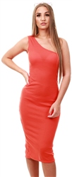 Parisian Orange One Shoulder Thigh Split Bodycon Midi Dress