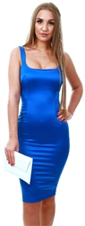 Vesper Lira Cobalt Satin Square Neck Pencil Dress