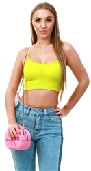 33b4f41d084 Parisian Lime Rib Knit Cami Crop Top