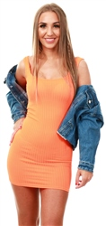 Parisian Orange Scoop Neck Rib Knit Bodycon Mini Dress