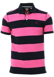 Jack Wills Pink / Navy Melcombe Chester Stripe Polo