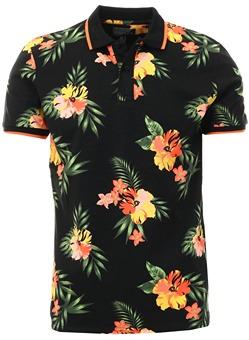 5a0ca763 Broken Standard Black Joss Floral Polo Shirt