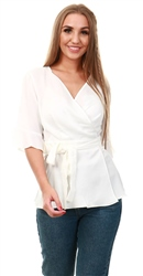 Style London White Cross Over Belted Top