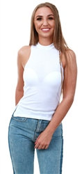 Parisian White Rib Knit High Neck Top