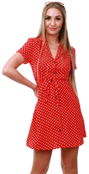 Qed Red Polka Dot Short Dress
