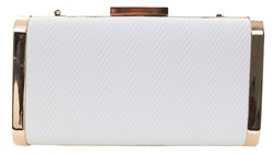 Koko White Textured Clutch Bag