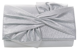 Koko Sliver Textured Bow Clutch Bag
