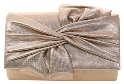 Koko Gold Textured Bow Clutch Bag