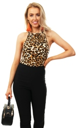 Ax Paris Leopard Print High Neck Bodysuit