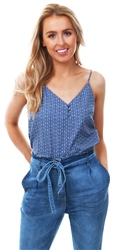Only Blue Pattern Button Strap Top