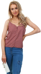 Only Spice Pattern Button Strap Top