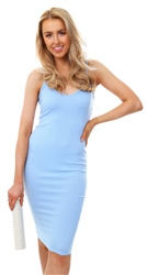 Parisian Powder Blue Rib Knit Plunge Neck Bodycon Cami Dress