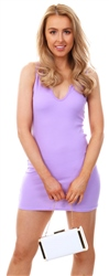 Parisian Lilac Rib Knit Sleeveless Bodycon Mini Dress