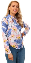 Missi Lond Floral Print Blouse With Neck Tie Detail