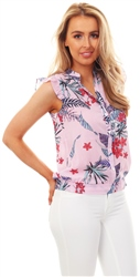 Cutie London Pink Blue Floral Print Blouse