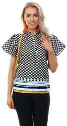 Cutie London Yellow Black Pattern Top