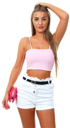 Parisian White Urn Up Paperbag Waist Self Belt Denim Shorts