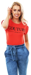 Parisian Red Couture Print Short Sleeve T-Shirt