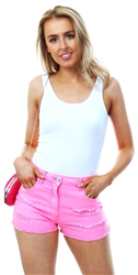 Parisian Neon Pink Distressed Frayed Hem Denim Hotpant