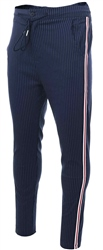 Brave Soul Navy Pinstripe Side Panel Stripe Trouser