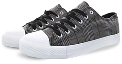 Brave Soul Grey Boston Checked Trainer