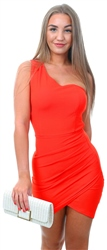 Ax Paris Red One Shoulder Mini Dress With Ruched Detail