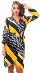 Ax Paris Yellow Pattern Print Wrap Dress