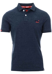 Superdry Navy Grit Orange Label Jersey Polo Shirt