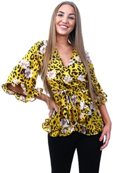 Ax Paris Yellow Animal Print Wrap Top