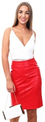 Vila Racing Red Faux Leather - Midi Skirt
