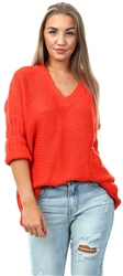 Noisy May Red Knitted V-Neck Pullover