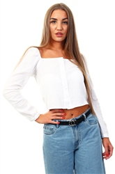 Urban Bliss White Textured Square Neck Top