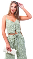 Urban Bliss Green Palm Print Button Crop Top