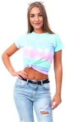 Urban Bliss Blue Pink Tie Dye Print T-Shirt