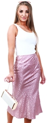 Lexie & Lola Maple Pink Leopard Satin Midi Skirt