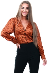 Lexie & Lola Rust Black Spot Long Sleeve Blouse