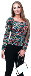 Missi Lond Black Floral Pattern Puff Sleeve Top