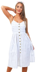 Brave Soul White Stripe Midi Button Dress