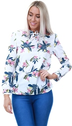 Cutie London Floral Tie Frill Blouse