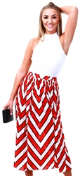Jdy Black / Red Printed Midi Skirt