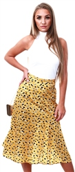 Missi Lond Yellow Animal Print Midi Skirt