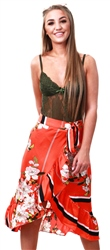 Missi Lond Orange Floral Print Frill Wrap Skirt