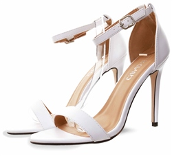 Krush White Pu Ankle Strap Shoe