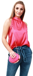 Missi Lond Pink Satin Sleeveless Top