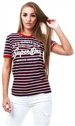 Superdry Rinse Navy/True Red/Optic Nyc Varsity Embroidered Stripe T-Shirt